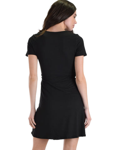 Lyss Loo Don't Tell 'Em Black Wrap Dress - Clothing Showroom