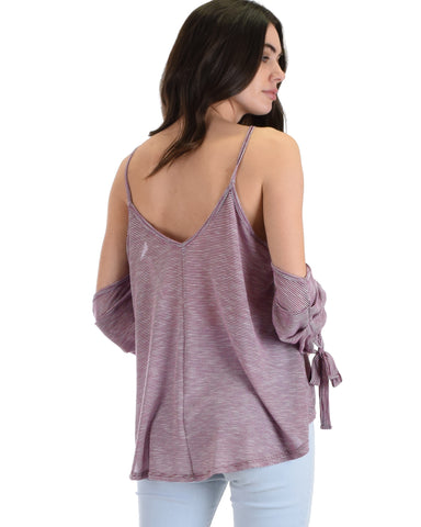 DT703083 Song Of Love Cold Shoulder Burgundy Striped Top 2-2-2 - Clothing Showroom