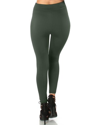 LL548 Comfy and Cozy Olive Winter Fleece Leggings 6 - Clothing Showroom