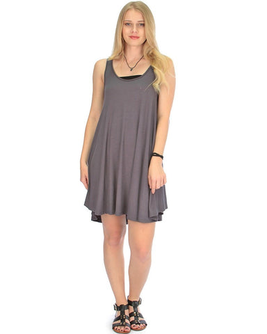 Lyss Loo Oversized Charcoal Tank Dress - Clothing Showroom