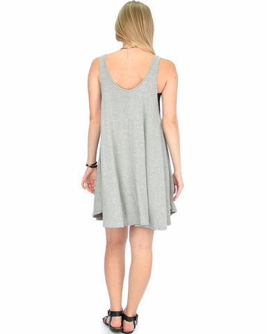 Lyss Loo Oversized Grey Tank Dress - Clothing Showroom