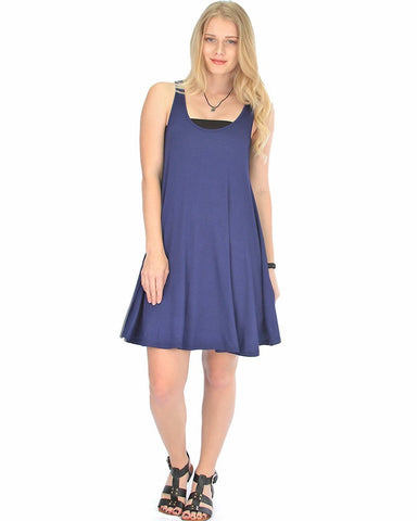 Lyss Loo Oversized Navy Tank Dress - Clothing Showroom