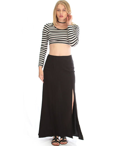 Seaside Maxi Skirt With Side Slit