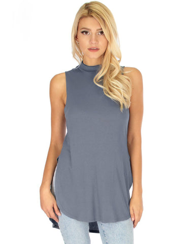 Lyss Loo Flirting With Danger Grey Ribbed Cut-Out Top - Clothing Showroom
