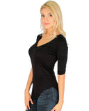 Lyss Loo Truly Madly Deep-V Neck 3/4 Sleeve Black Tunic Top - Clothing Showroom