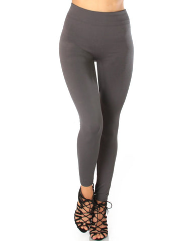 LL548 Comfy and Cozy Charcoal Winter Fleece Leggings 6 - Clothing Showroom