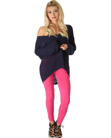 LL548 Comfy and Cozy Fuschia Winter Fleece Leggings 6 - Clothing Showroom