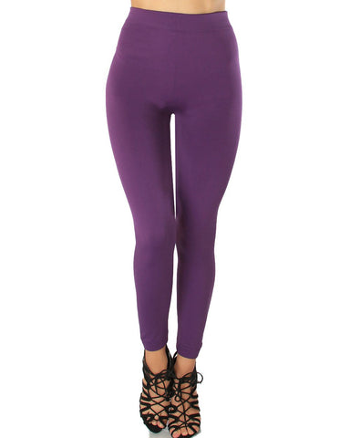 LL548 Comfy and Cozy Purple Winter Fleece Leggings 6 - Clothing Showroom
