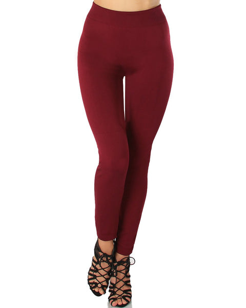 LL548 Comfy and Cozy Burgundy Winter Fleece Leggings 6 - Clothing Showroom