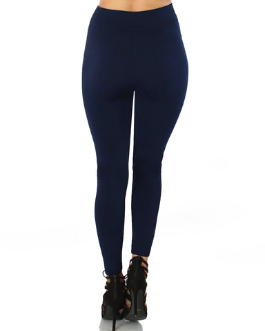 LL548 Comfy and Cozy Navy Winter Fleece Leggings 6 - Clothing Showroom