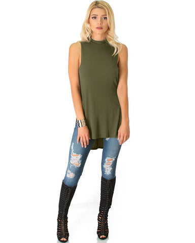 Lyss Loo Flirting With Danger Olive Ribbed Cut-Out Top - Clothing Showroom