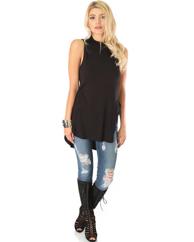 Lyss Loo Flirting With Danger Black Ribbed Cut-Out Top - Clothing Showroom