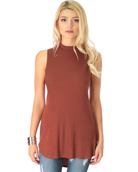 Lyss Loo Flirting With Danger Marsala Ribbed Cut-Out Top - Clothing Showroom