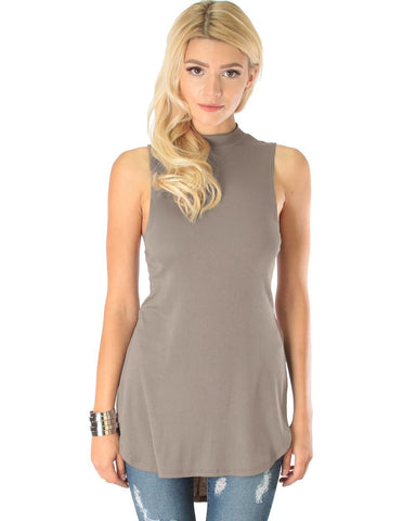 Lyss Loo Flirting With Danger Taupe Ribbed Cut-Out Top - Clothing Showroom