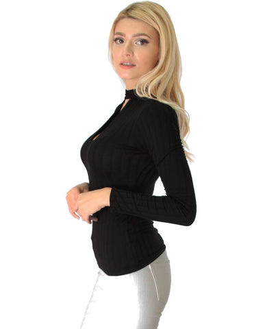 Lyss Loo Glamorous Ribbed Black Long Sleeve Cut-Out Top - Clothing Showroom