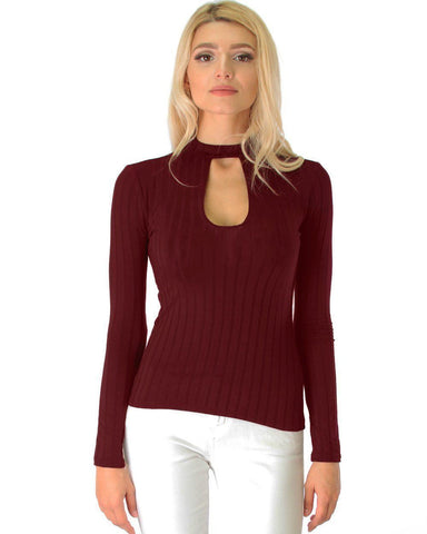 Lyss Loo Glamorous Ribbed Burgundy Long Sleeve Cut-Out Top - Clothing Showroom