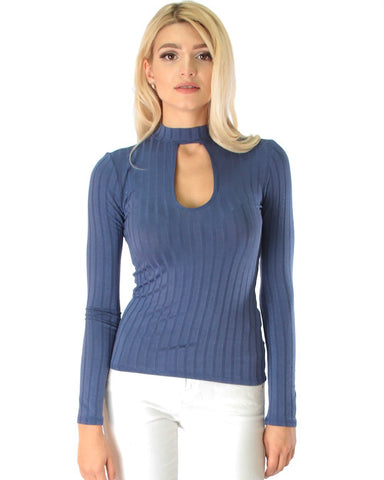 Lyss Loo Glamorous Ribbed Blue Long Sleeve Cut-Out Top - Clothing Showroom
