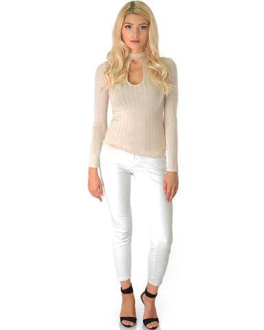 Lyss Loo Glamorous Ribbed Taupe Long Sleeve Cut-Out Top - Clothing Showroom