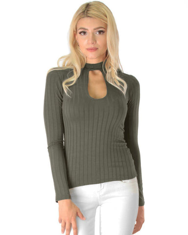 Lyss Loo Glamorous Ribbed Brown Long Sleeve Cut-Out Top - Clothing Showroom