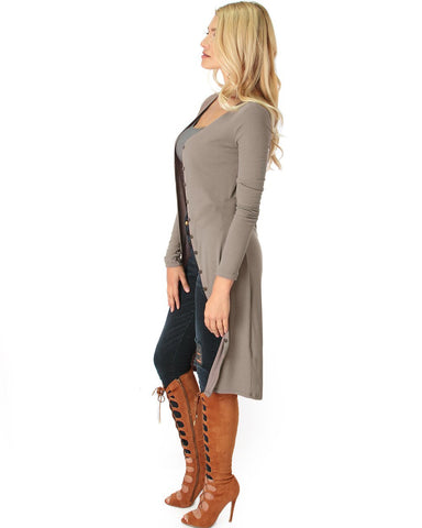 Lyss Loo Versatile Long Button-Up Ribbed Taupe Cardigan Dress - Clothing Showroom