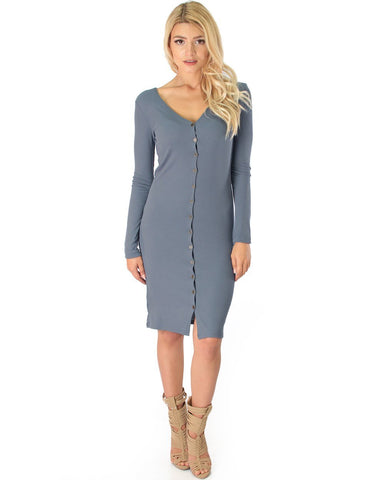 Lyss Loo Versatile Long Button-Up Ribbed Grey Cardigan Dress - Clothing Showroom