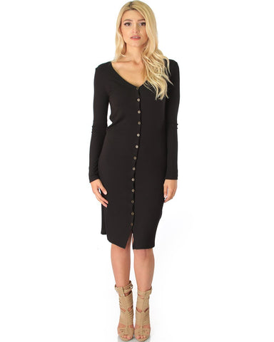 Lyss Loo Versatile Long Button-Up Ribbed Black Cardigan Dress - Clothing Showroom