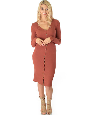Lyss Loo Versatile Long Button-Up Ribbed Marsala Cardigan Dress - Clothing Showroom