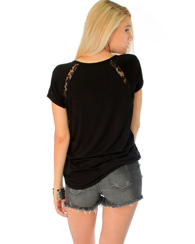 Lyss Loo Check Out My Lace Accents Black Tunic Top - Clothing Showroom