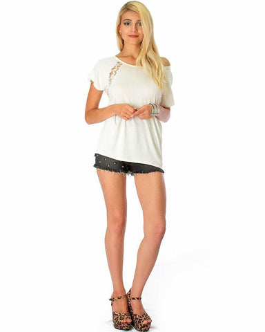 Lyss Loo Check Out My Lace Accents Ivory Tunic Top - Clothing Showroom