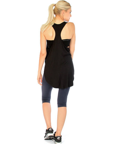 Lyss Loo When the Wind Blows Racer-Back Black Tank Top - Clothing Showroom
