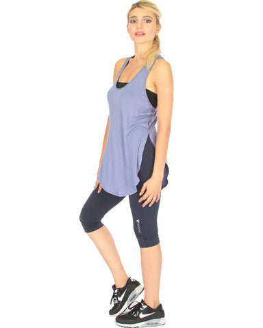 Lyss Loo When the Wind Blows Racer-Back Blue Tank Top - Clothing Showroom
