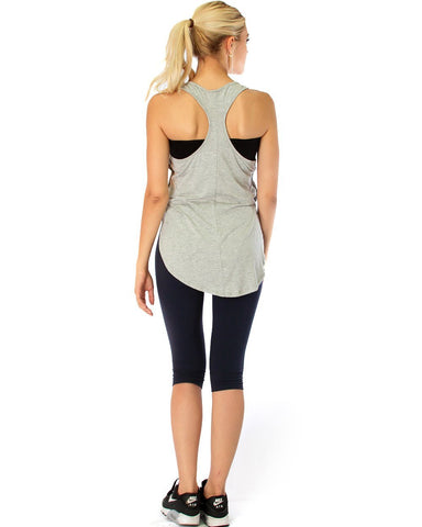 Lyss Loo When the Wind Blows Racer-Back Grey Tank Top - Clothing Showroom