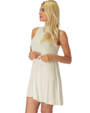 Lyss Loo Olivia Tank Striped Taupe Shift Dress - Clothing Showroom