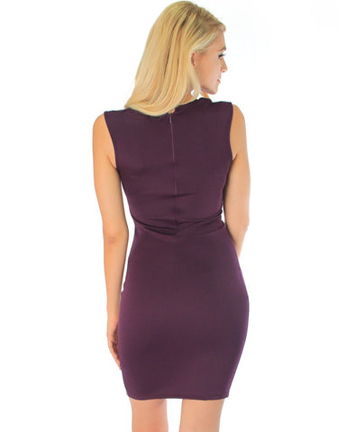 Lyss Loo Cocktail Hour V-Neck Purple Bodycon Dress - Clothing Showroom