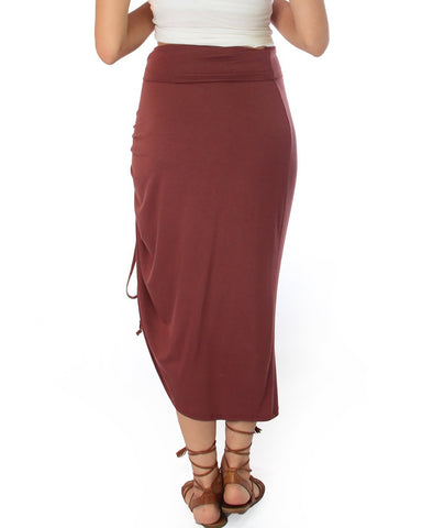 Lyss Loo Tie That Knot Fold Over Marsala Maxi Skirt - Clothing Showroom