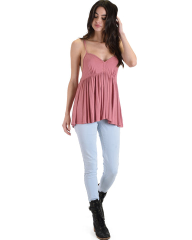 LT603251 Twirl Me Around Criss Cross Mauve Swing Tank Top 2-2-2 - Clothing Showroom