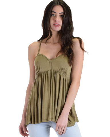 LT603251 Twirl Me Around Criss Cross Olive Swing Tank Top 2-2-2 - Clothing Showroom