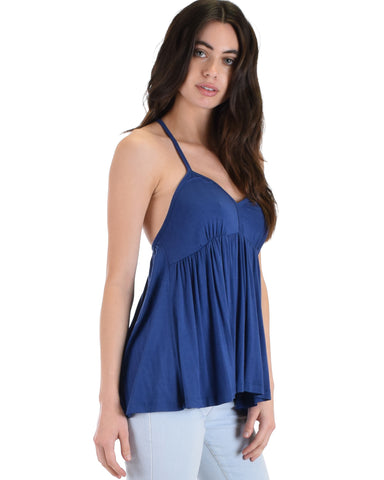 LT603251 Twirl Me Around Criss Cross Navy Swing Tank Top 2-2-2 - Clothing Showroom