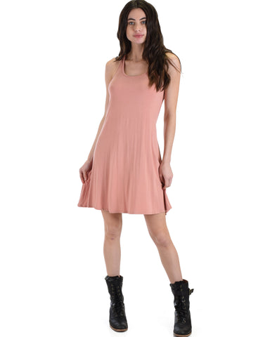 MD72161 Strap Me Up Mauve Swing Dress 2-2-2 - Clothing Showroom