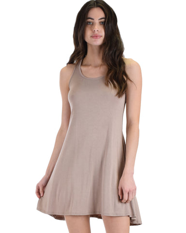 MD72161 Strap Me Up Taupe Swing Dress 2-2-2 - Clothing Showroom