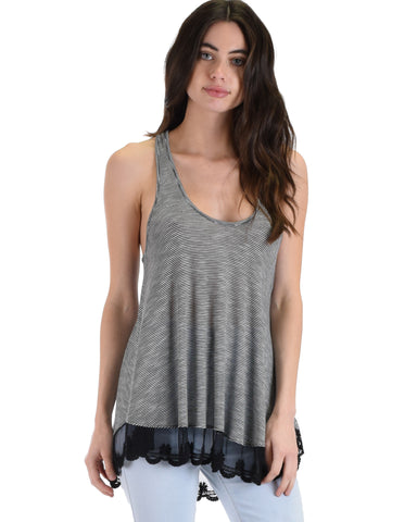 MT604285 Take Note Striped Black Tank Top With Lace Hem 2-2-2 - Clothing Showroom