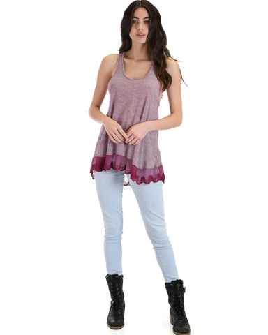 MT604285 Take Note Striped Burgundy Tank Top With Lace Hem 2-2-2 - Clothing Showroom