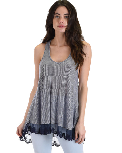 MT604285 Take Note Striped Navy Tank Top With Lace Hem 2-2-2 - Clothing Showroom