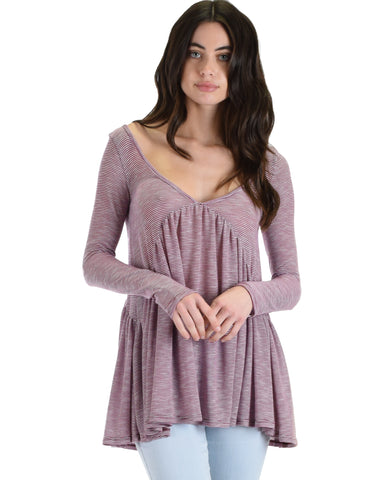 MT67253 Something Good Long Sleeve Burgundy Striped Swing Top 2-2-2 - Clothing Showroom
