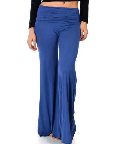 Lyss Loo Fold-Over Palazzo Blue Flare Pants - Clothing Showroom