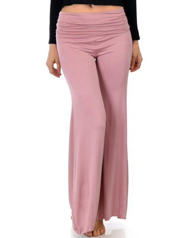 Lyss Loo Fold-Over Palazzo Mauve Flare Pants - Clothing Showroom