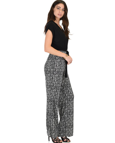 Lyss Loo Many Moons V-Neck Black Jumpsuit - Clothing Showroom