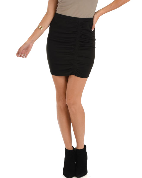 Lyss Loo Keep It Moving Ruched Black Pencil Skirt - Clothing Showroom