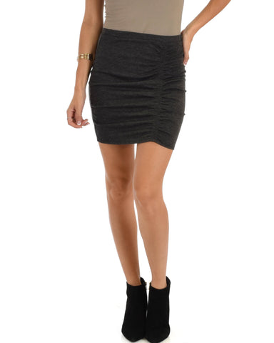 Lyss Loo Keep It Moving Ruched Charcoal Pencil Skirt - Clothing Showroom
