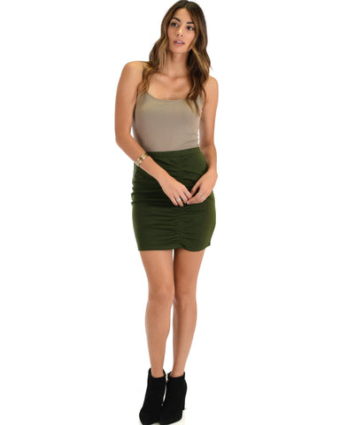 Lyss Loo Keep It Moving Ruched Olive Pencil Skirt - Clothing Showroom
